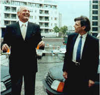 Henry Cooper presenting me with two goldfish.